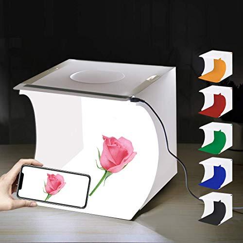 Faltbare Foto Studio Zelt,Leuchtkasten für Fotografie mit LED Licht Mini Fotografie Studio Kit Portable Ausgestattet mit 6 Farben Hintergrundtüchern,eingebauten Lichtern und USB Kabel