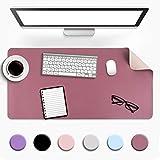Multifunktionales Office Mauspad, YSAGi 80x40 cm Wasserdichte Schreibtischunterlage aus PU-Leder, Ultradünnes Mousepad zweiseitig nutzbar, ideal für Büro und Zuhause (Dunkelpink - Single, 80 * 40 cm)