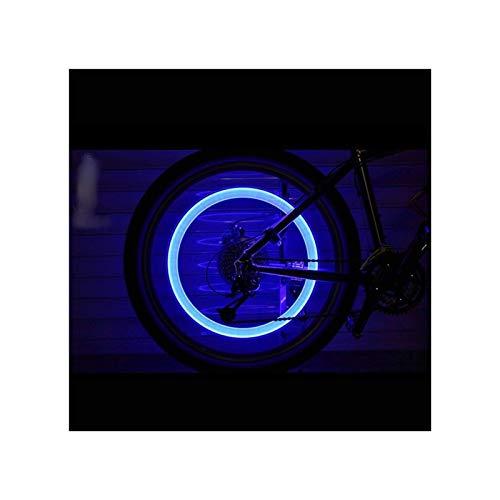LUJIAN Luces De Bicicleta 2 Unids Bicicleta Luz Neumático Válvula Tapa Bicicleta Flash Luz Mountain Road Bike Ciclismo Neumático Rueda Luces Neón Lámpara Cubierta Rueda (Color : Blue)