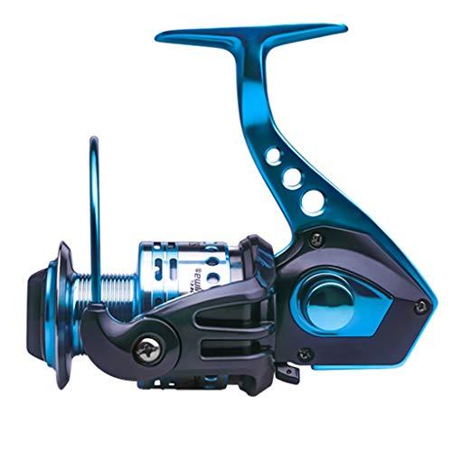Guo-Me Carrete de pesca de 12 ejes anti-mar de agua anti-reversa carrete de pesca de metal, las manos izquierda y derecha de la manivela son intercambiables (color: azul, tamaño: 6000)