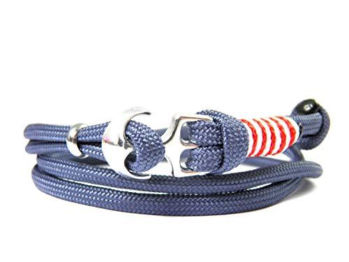 HanseCharms - Maritimes Surfer Anker Armband-Paracord Typ III Armband-Verstellbar-Unisex-Wickelarmband-Geschenk-Navy Blau Typ III + Imperial Rot u. Weiß - Micro Cord