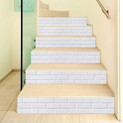 WANMEI Juego de 6 adhesivos 3D de cerámica para escalera, para escaleras, para decoración del hogar, para escaleras, resistente al agua, PVC, 6 unidades