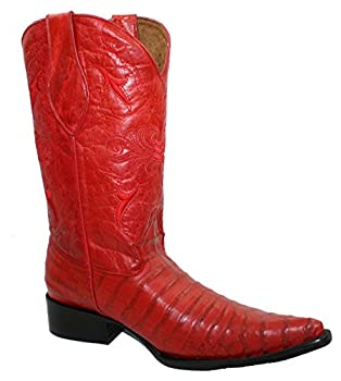 Men s Handcrafted Crocodile Alligator Belly Print Western Cowboy Boots Red-8.5