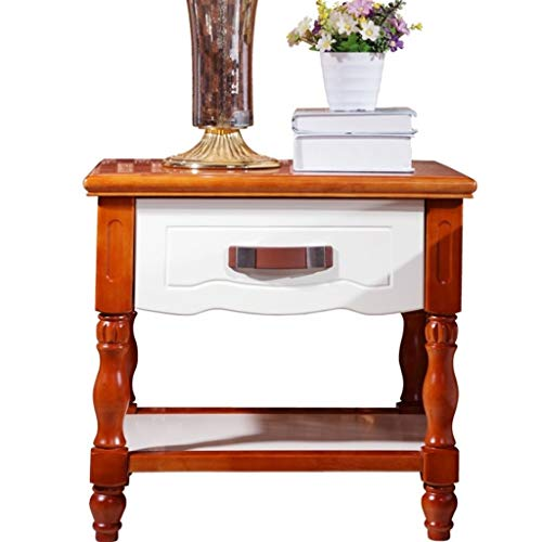 XIAOQIU Nightstand Solid Wood Bedside Table Cabinet with 1 Drawer Shelf Storage Unit Locker Multipurpose Small Side Table End Table Nightstand Bedroom Furniture, 55 * 43 * 49CM Bedside Cabinet