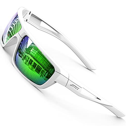 ATTCL Gafas de sol deportivas polarizadas TR90 para hombre, montura ultraligera, Blanco y verde con efecto espejo, Medium