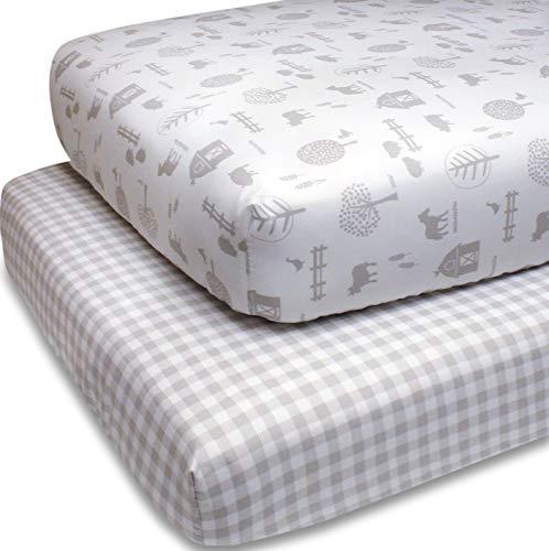 The Peanutshell Fitted Crib Sheet Set for Baby Boys or Girls | Unisex 2 Pack in Plaid & Farm Nursery Theme | Fits Standard Crib Mattresses