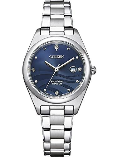 Citizen Eco-Drive EW2600-83L - Orologio da polso da donna, in titanio e madreperla, colore: Blu