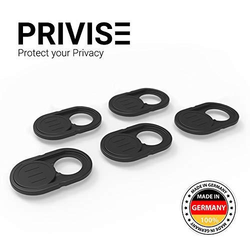 Privise Webcam Abdeckung, Made in Germany, Webcam Cover für MacBook Pro, Laptop, Smartphone, Tablet, iPad, Ultra Dünn, 5er-Set Schwarz