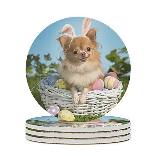 Fineiwillgo Posavasos de cerámica con forma de Pascua, lindos perros, huevos, antideslizantes, redondos, de cerámica con dorso de corcho, decoración para bar, cristal, diámetro blanco, 6 unidades
