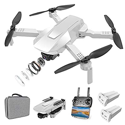 Eilsorrn Foldable RC Drone with 4K HD Camera for Adults and Kids,FPV RC Quadcopter with 3D Flips,Trajectory Flight,Optical Flow Positioning,Gesture Control,Headless Mode,APP Control[2 Battery Pack]