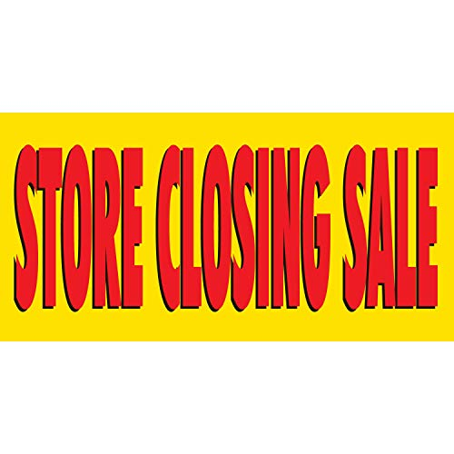 HALF PRICE BANNERS | Store Closing Sale Vinyl Banner-Mesh Wind Resistant 3X6 Foot-Yellow| Includes Zip Ties|Easy Hang Sign-Made in USA