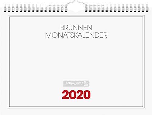 BRUNNEN 1070146 Wandkalender/Monatskalender Modell 701 46 (1 Seite = 1 Monat, 297 x 210 mm, Karton-Umschlag, Kalendarium 2020, Wire-O-Bindung, mit Aufhänger) weiß