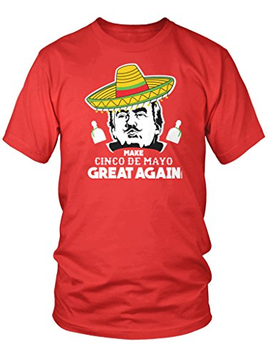 LOGOPOP Men's Donald Trump Make Cinco De Mayo Great Again T-Shirt, L, Red