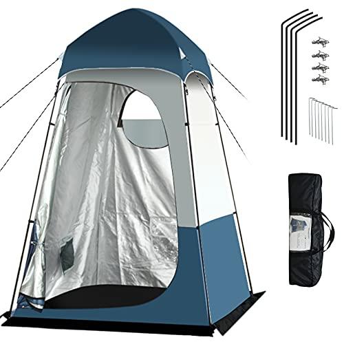 Qweidown Tienda de ducha para camping, 160 x 160 x 240 cm (largo x ancho x alto), tienda de aseo, con bolsa de almacenamiento, asiento móvil, vestuario, resistente al agua, protección solar