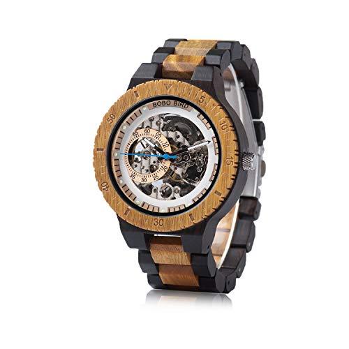Relógio masculino mecânico de madeira Bird luxuoso leve tamanho grande com caixa Gife Box