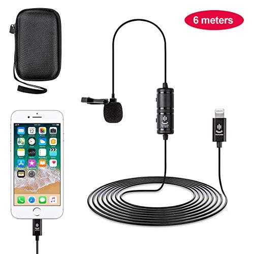 Lavalier Mikrofon lightning für iPhone 6/7/7 plus/8/8 plus/11/11 Pro, iPhone X/XS/XR, Omnidirectional Kondensator Mic mit Windschutz, Mikrofon für YouTube Facebook Video Aufzeichnung 6 Meter