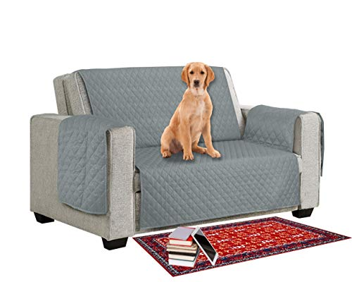 MIA we dress your home Sofa Protector Reversible Anti Slipcover from Pets/Dogs/Kids Love Seat Sofa Covers 2 Seater Couch Settee Covers Furniture Protective Soft Quilted with Non Slip Strap Seat