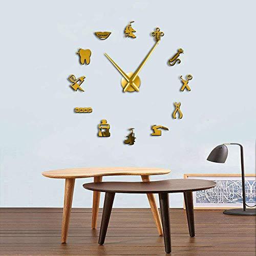 OTXA Dekorative große 3D Wanduhr DIY große Uhr Zahnarzt Büro Dekoration, Gold, 37 Zoll