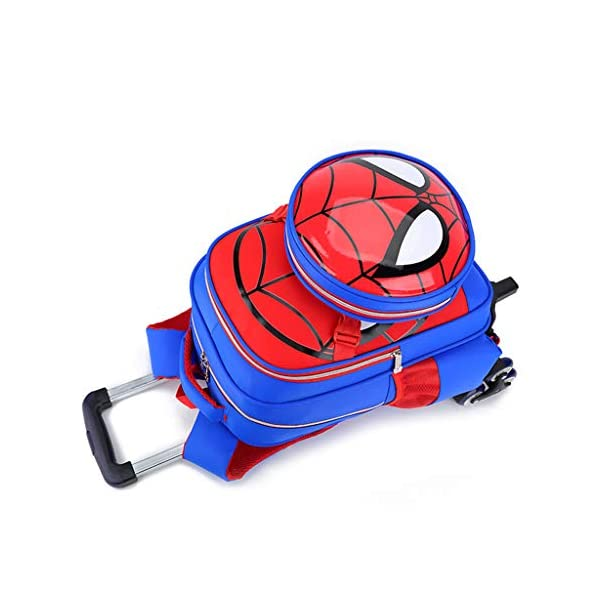 41nW6VcSmKL. SS600  - WQLESO Spiderman Mochila con Ruedas Impresa Mochila Escolar para niños Mochila Primaria con Ruedas para niños de 6 a 12 años de Edad