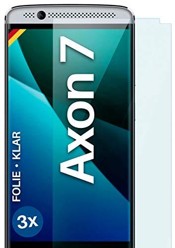 moex Klare Schutzfolie kompatibel mit ZTE Axon 7 - Bildschirmfolie kristallklar, HD Bildschirmschutz, dünne Kratzfeste Folie, 3X Stück