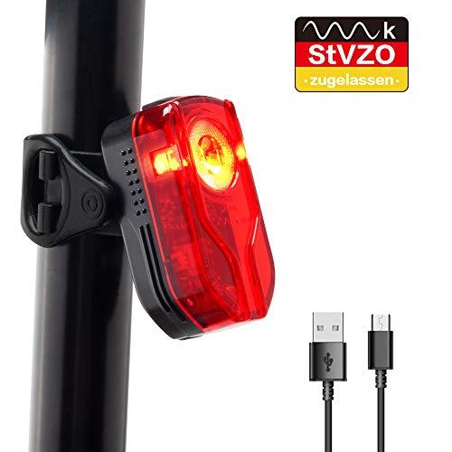 LIFEBEE Fahrrad Rücklicht, LED Fahrradlicht, StVZO Zugelassen USB Rücklicht, IPX5 Wasserdicht Fahrradbeleuchtung Aufladbar Akku, Fahrradlampe Fahrrad Rennrad für Radfahren Camping usw