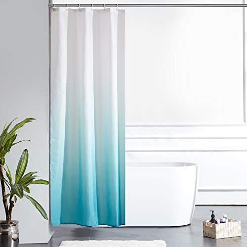 Furlinic Schmal Duschvorhang Badvorhang Textil aus Polyester Stoff Schimmelresistent Wasserabweisend Waschbar für Eck Dusche Kleine Badewanne Weiß nach Aquamarine 90x180 mit 6 Duschringen.