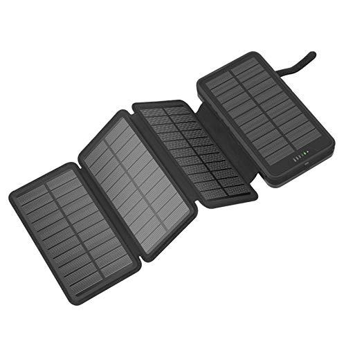 WY&WY Paneles Solares 20000Mah Cargador Solar Power Bank, 4 Baterías De Respaldo Externas Plegables Compatibles con iPhone 11, X, Pro, Tabletas, Samsung, Linterna LED Impermeable,Negro
