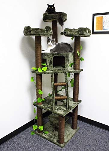 CozyCatFurniture Large Cat Towers, Extra Tall Cat Trees with Condos, Perches & Sisal Scratching Posts