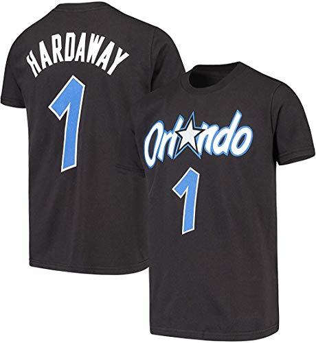Mitchell & Ness NBA Boys Youth 8-20 Hardwood Classics Name & Number T-Shirt (Anfernee 'Penny' Hardaway Orlando Magic Black, Youth Small 8)