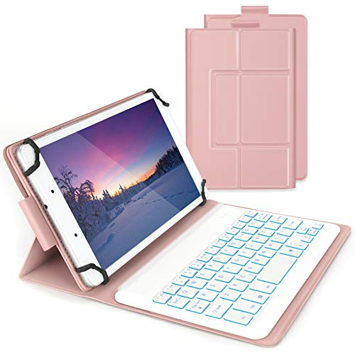Keyboard Case for 7-8 inch Tablet, Bluetooth Backlit Keyboard UK Layout Qwerty with Protective Cover for all 7-8 inchTablet with Android, iOS, Windows System, Rose and Gold