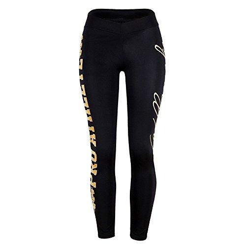 Pantalones, Mujer Deportes Gimnasio Yoga Cintura Media Pantalones con Estampado de Letras Fitness Leggings...