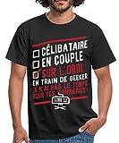 Geek Célibataire en Couple sur L'Ordi T-Shirt Homme, M, Noir