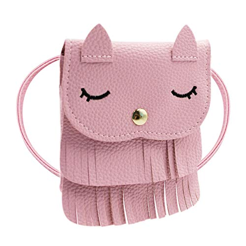 ZGMYC Cat Tassel Shoulder Bag Small Coin Purse Crossbody Satchel for Kids Girls,Pink(5.1x5.9in)