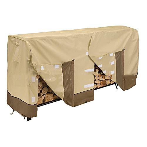 Amazing Deal XZPENG Heavy Duty Firewood Cover Two Open with Draw String,Waterproof Outdoor Patio G...