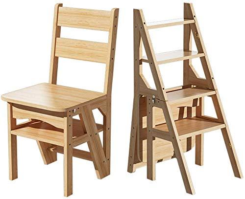 SongL Taburete de escalera de madera maciza con doble uso para escalar, plegable, para cocina, hogar, hogar, biblioteca, cocina, oficina