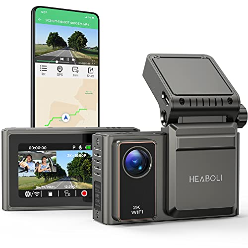 """Heaboli 2K Dual Dash Cam Wi-Fi Built-in GPS , Front and Inside Car Camera Recorder with Infrared Night Vision, 4 IR LEDs, 2"""" LCD, Sony Sensor, G-Sensor, Parking Mode, Loop Recording"""