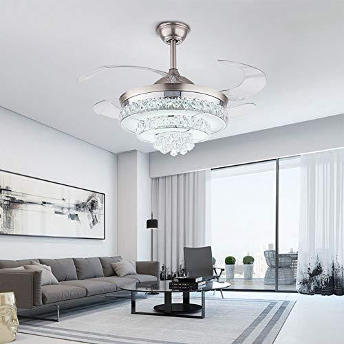 Lujoso ventilador de techo con luces y mando a distancia, lámpara de cristal para habitación, salón, dormitorio, comedor, oficina