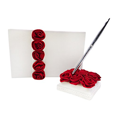 Abbie Home Satin Rose Decor Wedding Guest Book + Pen + Pen Stand + Flower Basket + Ring Pillow Set Romantic Beach Wedding Party Favor (Burgundy)