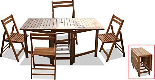 EASTASIA Tavolo in Legno da Giardino 150x90x74 Pieghevole Porta sedie con 4 sedie in Legno di Acacia Incluse