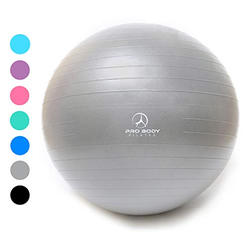 Exercise Ball - Professional Grade Anti-Burst Yoga Fitness, Balance Ball for Pilates, Yoga, Stability Training and Physical Therapy (Silver, 55cm (No Pump))
