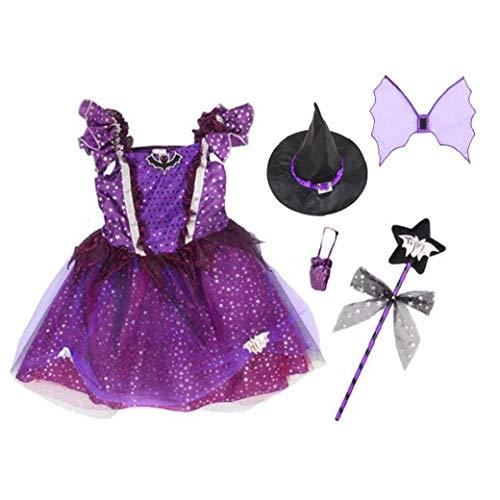 ZWWZ Disfraz de bruja clsico de Halloween con sombrero para nia disfraces de Halloween de cuento de hadas vestido de fiesta traje de fiesta prpura 130 cm 1 set de pelo