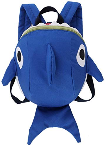 1x Kids School Bag, Kids Backpack, Cute Shark Shaped Baby Walker with Safety Rope, Suitable for Baby Boy Size 15 * 21 * 9.5cm (Blue)