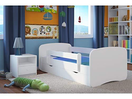 Cama infantil completa 70x140 80x160 80x180 barreras con somier y Cajón gratis para niñas niños Cama individual - Blanco - 180x80