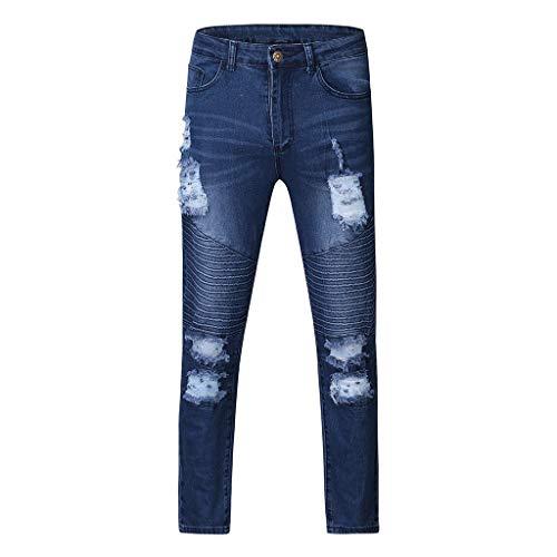 BUZHIDAO Herren Zerrissene Stretchjeans Lange Klassische Straight Jeans Herren Chino Pants Modisch Elastisch Hose Herbst Und Winter Mode Retro Normallack Hose