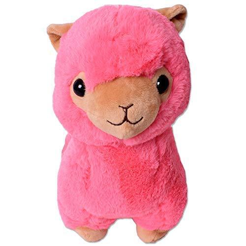 TE-Trend XXL Plüsch Alpaka Alpaca Lama Plüschtier Kuscheltier Deko Stofftier Kinder Baby Geschenk 30 cm weiß pink rosa