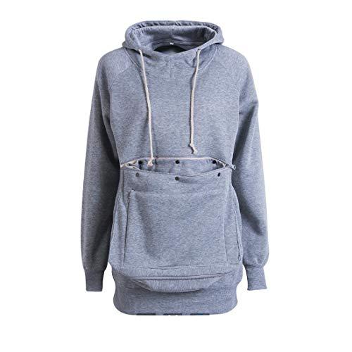 Zhhlinyuan Unisexe Hoodies Porteur de Compagnie Chat Chien - Pullover Grandes Poches Sweatshirt Manche Longue Chemisier en Coton pour Femmes Hommes