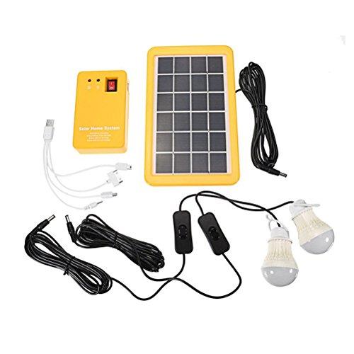 Uonlytech Tragbares Solar-Home-System-Kit für den Außenbereich DC-Solarpanel-Stromerzeuger LED-Glühbirnen Solar-Camping-Beleuchtungssystem mit USB-Ladegerät