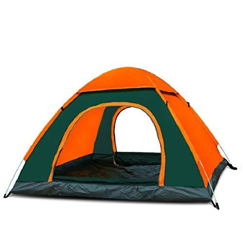 thematys Tienda de campaña para Exteriores con luz Pop up y Bolsa de Transporte en Color Naranja-Verde para 3-4 Personas Acampar, Festivales y Vacaciones