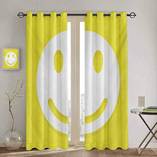 DONEECKL Yellow Black out Window Curtain Rise Wake UO Positive Optimistic Life Message Big Smiley Happy Face Artwork Waterproof Fabric W55 x L72 Inch Yellow and White