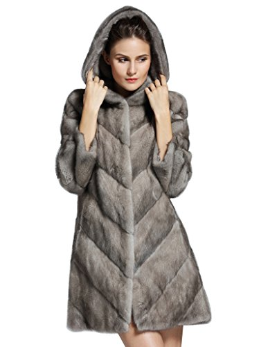 YR Lover Women's Whole Skin Long Mink Fur Hooded Coat with Pockets Winter Jacket Overcoat